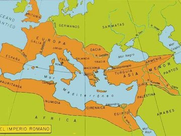 Territory of the Roman Empire - Here we find the territory occupied by the Roman Empire. A close up of a map.