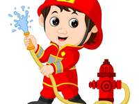 Il pompiere - . Una stretta di un giocattolo.