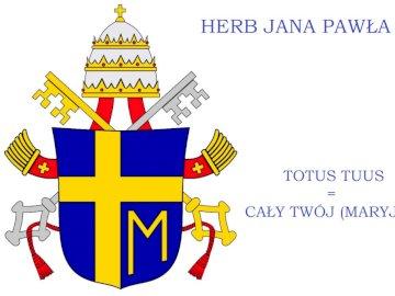 Herb Jana Pawła II - . Zakończenie up tekst na czarnym tle.