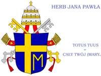 Brasão de João Paulo II - . Um fim acima do texto em um fundo preto.