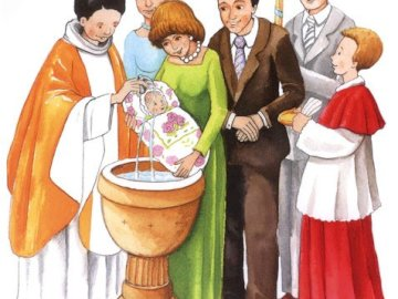 sacrament of baptism - . A group of people wearing costumes.