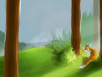 Forest with a fox - . .