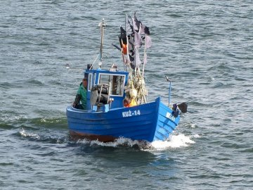 Fischerboot - . Ein Mann in einem blauen Boot auf einem Gewässer.