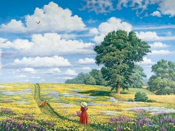 pole marzeń - . Żółte i pomarańczowe kwiaty w polu.