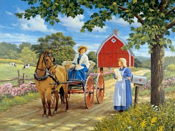 Good Neighbors - . A person riding a horse drawn carriage traveling down a dirt road.