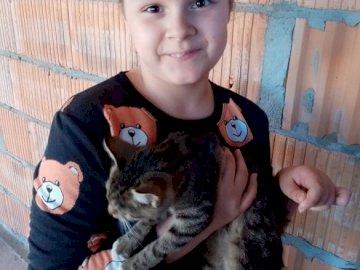 süßes Mädchen mit einer Katze wirklich süß - . Ein kleines Kind hält eine Katze. hübsches Mädchen mit Kätzchen wirklich hübsch