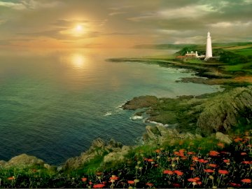 lighthouse_sunset_sea - . A large body of water.