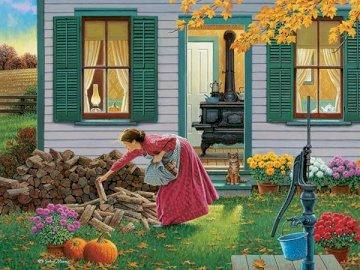 Otoño en el campo. - Otoño en el campo. Una mujer delante de la casa. Un grupo de coloridas flores en un jardín.