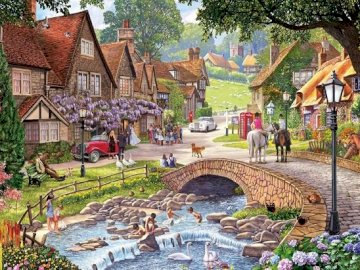 English countryside. - Painting. English village in art. A group of people standing in front of a house.