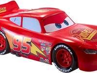 Lightning McQueen - La puzzele des moteurs rugissants de voitures. Une voiture rouge.