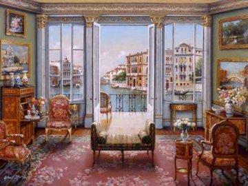 Veneciano salon - Salon veneciano con vistas. A living room filled with furniture and a large window.