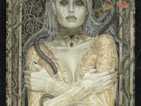 Death Card Lady of Death - 'Lady Death' Tarot Card with serpent. A pair of gold.