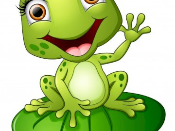 green frog - inhabitants of the spring meadow. A drawing of a face.