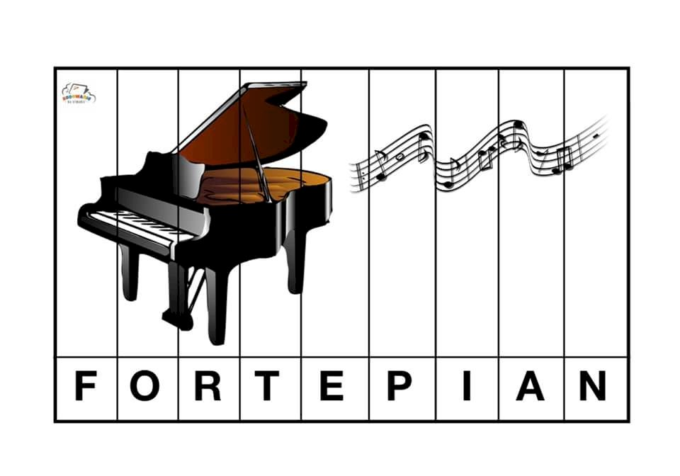 fortepian - Fortepian instrumenta muzyczny. Zbliżenie logo (7×2)
