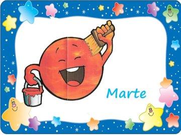 Planeta Mars - Mars czerwona planeta. Zbliżenie logo.