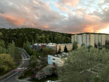 Жилищни имоти в облаците - Имотът през пролетта по залез слънце.