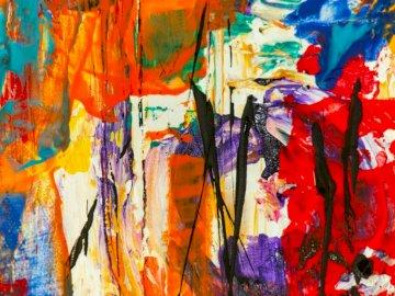 Abstraktes Gemälde - Abstraktes Gemälde. Valparaiso Indiana USA. Eine mit Graffiti bedeckte Wand.