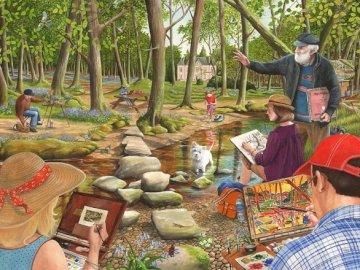 Pintura al aire libre. - Puzzle. Pintura al aire libre. Un grupo de personas sentadas en una mesa de picnic.