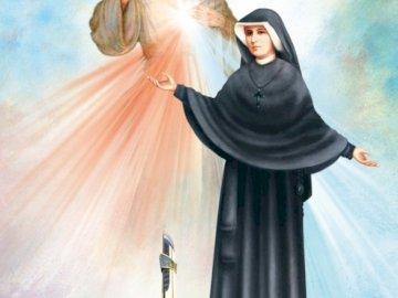 Faustina - Gottes Barmherzigkeit und Schwester Faustyna. Faustina Kowalska in einem schwarzen Kleid.