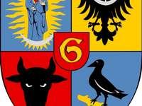 Escudo de armas de la ciudad de Głogów - Componer rompecabezas Escudo de armas de la ciudad de Głogów. Un primer plano de un logotipo.
