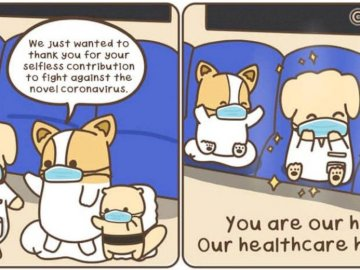 Health care hero - Cartoon sketch of masked animals saying thank you to a masked doctor animal for being a hero. A clos