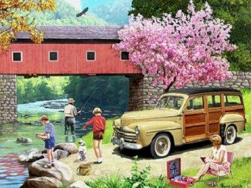 Viaje familiar al río. - Puzzle. La familia pasa tiempo en el río el domingo. Un automóvil estacionado frente a una casa.