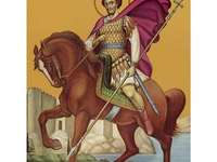 Saint Isidore - Saint Isidore of Chios. A book sitting on top of a horse.