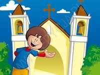 HOLY MASS - Inbjudan till den heliga mässan. En ritning av en seriefigur.