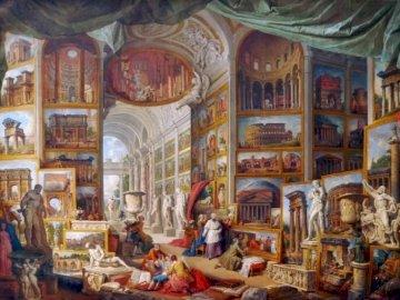Galería de cuadros con vistas de la Roma Antigua - Galería de cuadros con vistas de la Roma Antigua, de Pannini.