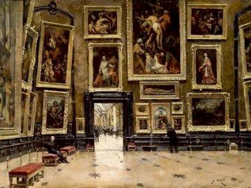 Panoramica del Salón Cuadrado en el Louvre