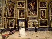 Panorámica del Salón Cuadrado en el Louvre - Panorámica del Salón Cuadrado en el Louvre, Alexandre Jean-Baptiste Brun. Stará fotografie krbu s