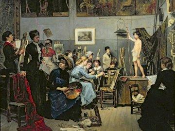 El Estudio (1881) - El Estudio (1881), por Marie Bashkirtseff, que se autorretrató en el centro del cuadro. A group of