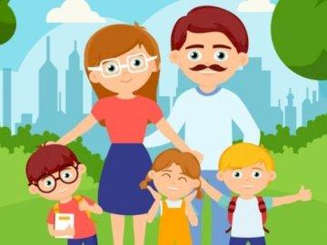 Meine Familie - Meine Familie rätselt für 5-6 jährige Kinder.