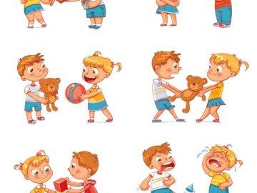 Emotionen der Kinder - Verhaltensweisen, die unterschiedliche Emotionen hervorrufen. Eine Reihe von Tieren in einem Raum.