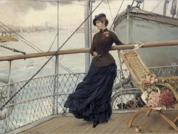 the_departure_from_new_york - the_departure_from_new_york_harbor-henry-bacon. Eine Person, die neben einem Zaun steht.