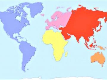 Planisphère - Commandez et reconnaissez les continents et les océans. Un gros plan d'une carte.