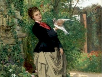 adrien-moreau-french - adrien-moreau-french-1843-1906_1873. Osoba trzymająca ptaka na drzewie.