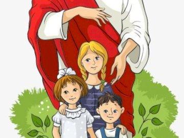 SEÑOR JESÚS Y NIÑOS - Jesús e hijos. Puzzles para niños. Un dibujo de un personaje de dibujos animados.