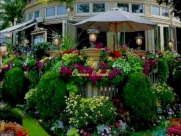 House with garden. - House with a beautiful garden .. A close up of a flower garden.