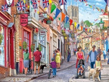 On London street. - Puzzle: on a London street. A group of people walking down a street.