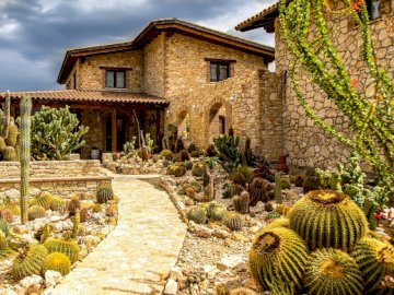 Dom wśród kaktusów - uroda kolczastych roślin. Kamienny budynek.