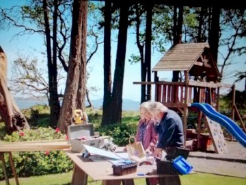 Megan Mick - Cheesies chesapeake Shores megan mick. A person sitting on a bench.