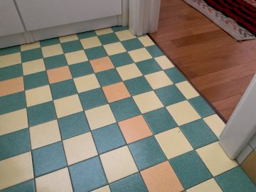 Third grade - Try puzzles for kids. A blue and white tile floor.