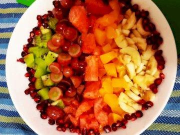 Delicioso - Sabroso todos los días. Un plato blanco cubierto con un tazón de fruta. Una comida saludable todos