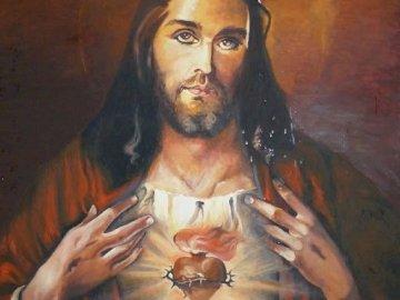 Jezus Kochający - Puzzle z Jezusem Kochającym. Osoba patrząca w kamerę.
