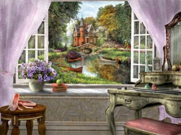 Interior. - Jigsaw puzzle. Building. The interior of the room with a nice view. A chair sitting in front of a bu