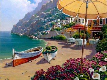 capri-rendezvous - Vista de Capri desde una terraza. A z bliska parasol na plaży.