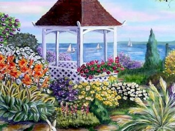 Painting. - Art. Painting. By the lake. A colorful flower garden.