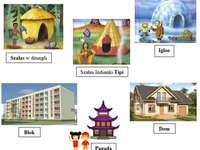 Houses of the World - Arrange the puzzles showing children's homes from around the world.