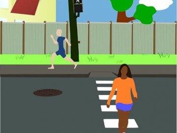 Bezpieczni na drodze - Puzzle dla dzieci najmłodszych z zakresu bezpieczeństwa.